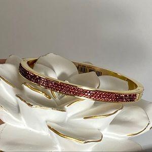 Henri Bendel Rox thin pave bracelet in Maroon gold